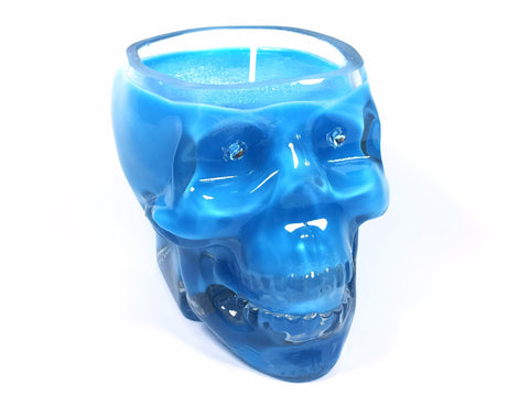 Baby Powder Blue Skull Candle