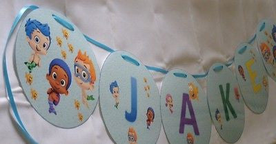 Bubble Guppies Personalized Name Banner for Birthday Party or Bedroom
