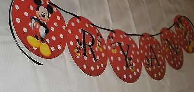 Mickey Mouse Personalized Name Banner for Birthday Party or Bedroom