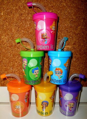 Bubble Guppies Party Favor Cups Personalized With Name Age, Bubble Guppies Birthday Treat Cups Set of 6, BPA Free
