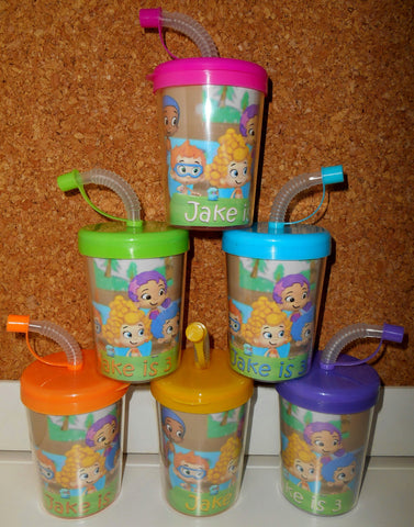 Bubble Guppies Party Favor Cups Do It Yourself Personalized With Name & Age, DIY Bubble Guppies Birthday Cups Set of 6 BPA Free