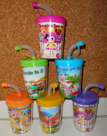 Lalaloopsy Party Favor Cups Personalized Name, Lalaloopsy Birthday Treat Cups Set of 6, BPA Free