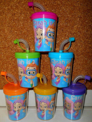 Bubble Guppies Party Favor Cups Personalized With Name & Age, Bubble Guppies Birthday Cups Set of 6