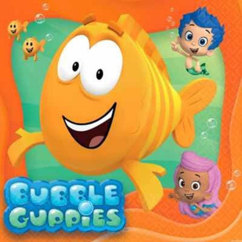Bubble Guppies Party Favor Napkins, Bubble Guppies Birthday Party Supplies Napkins Dinnerware Set of 16