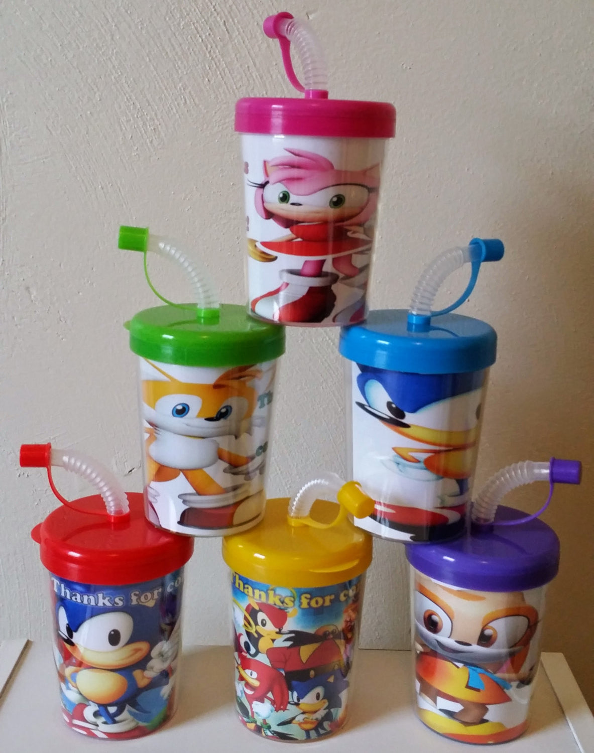 Sonic the hedgehog personalized with thanks for coming party favor sonic the hedgehog personalized with thanks for coming party favor cups do it yourself birthday treat cups set of 6 amy rose knuckles tails solutioingenieria Image collections