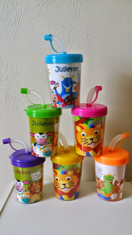 Baby Einsteins Party Favor Cups Personalized With Thanks for Coming Birthday Treat Cups Animals, Lion, Giraffe, Dog, Cow, Bird Frog Set of 6