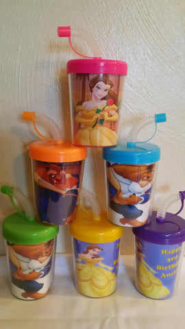 Beauty and the Beast Personalized Party Favor Cups, Belle Birthday Treat Cups Set of 6, BPA Free
