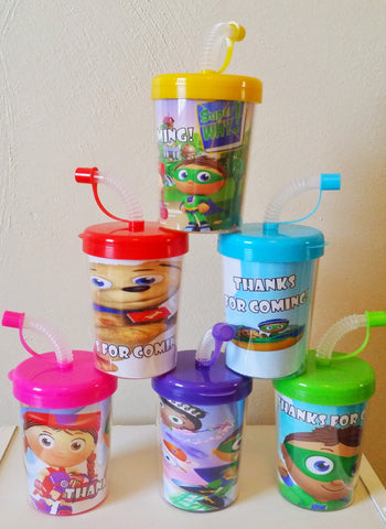 Super Why Personalized Party Favor Cups, Birthday Party Treat Cups Set of 6, Super Why Party Favors, BPA Free