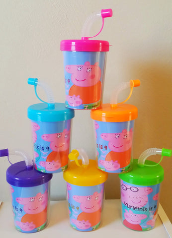 Peppa Pig Do It Yourself Party Favor Cups Personalized Name & Age, Set of 6 DIY Peppa Pig Birthday Treat Cups, Peppa Pig Party Favors