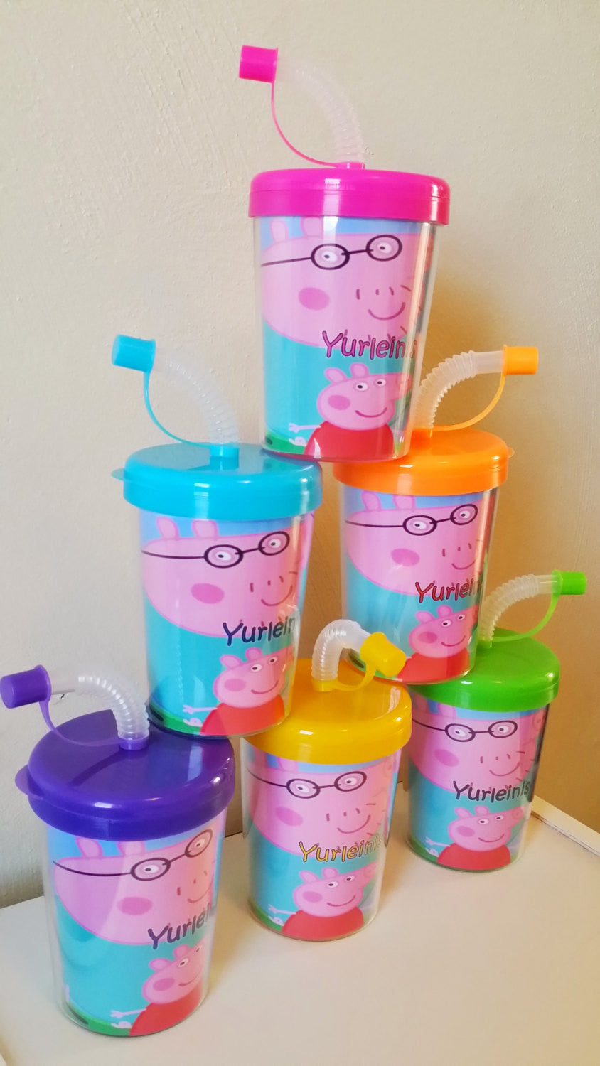 Wedding Personalized Favors peppa pig do it yourself party favor cups personalized name age set of 6