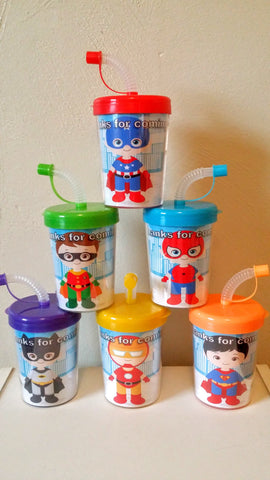SuperHero Personalized DIY Party Favor Birthday Treat Cups, Set of 6 DO It Yourself Spiderman, Captain America, Batman, Superman, Iron Man