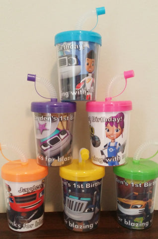 Blaze and the Monster Machines DO It Yourself Personalized Birthday Party Favor Cups Lids & Straws Set of 6, AJ Gabby Darington Crusher