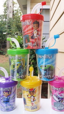 Blaze and the Monster Machines Personalized Birthday Party Favor Cups Lids & Straws Set of 6, AJ Gabby Darington Crusher Starla Stripes