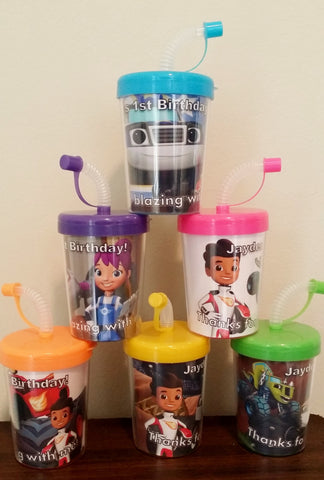 Blaze and the Monster Machines Personalized Birthday Party Favor Cups Lids & Straws Set of 6, AJ Gabby Darington Crusher Starla Pickle