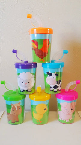 Farm Animals Party Favor Cups Do It Yourself, DIY Birthday Treat Cups, Cow, Horse, Duck, Sheep, Bird, Pig Barn Rooster Set of 6