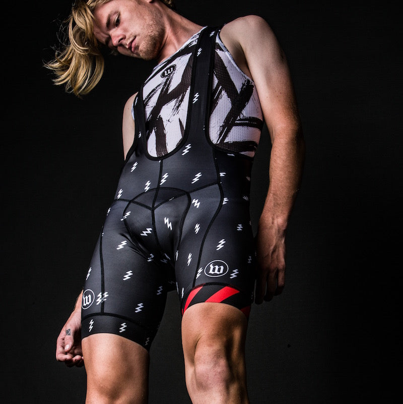 Men's Black + White Contender Bib Short - Bolt Black
