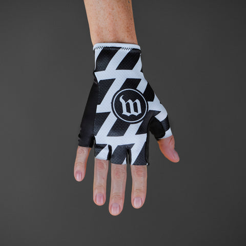 Black + White Gloves - Stripe