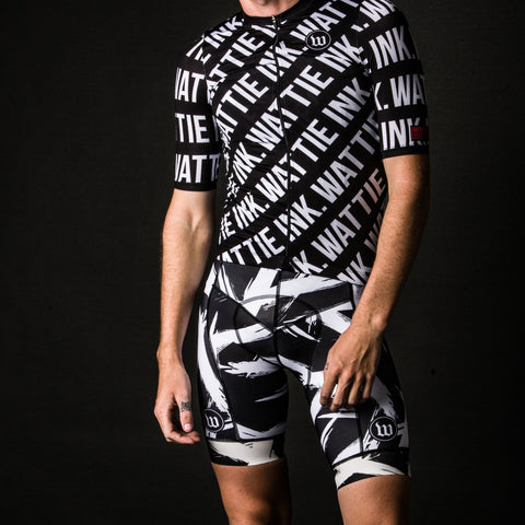 Black + White Collection Contender Men's Bib Short - Bolt White