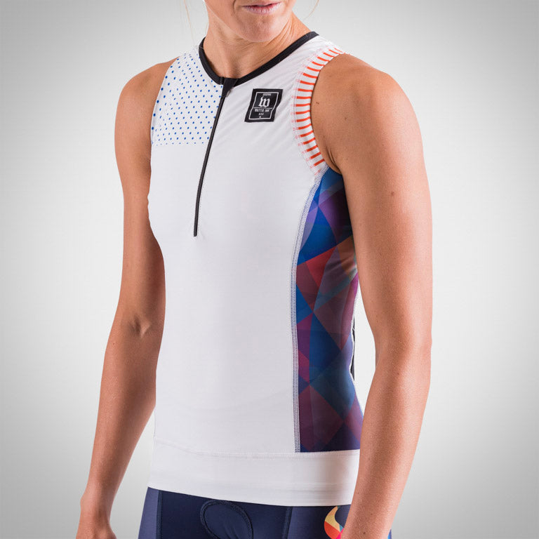 Women's Prism White Aero Triathlon Top