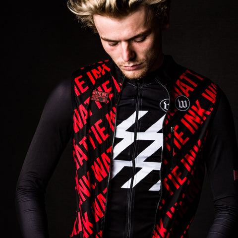 Men's Black + White Double Threat Vest - The W Red