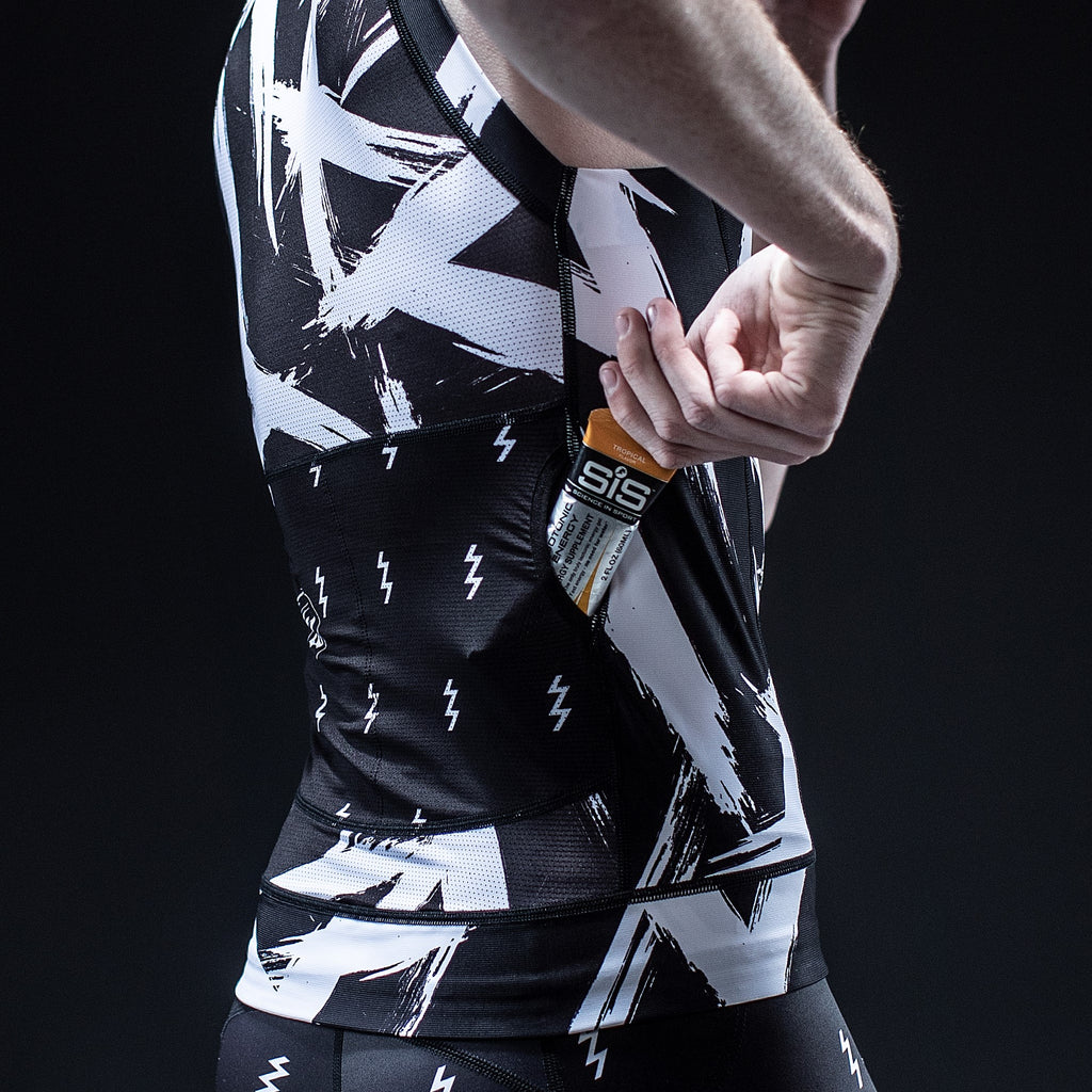 Men's Contender 2.0 Black + White Tri Top