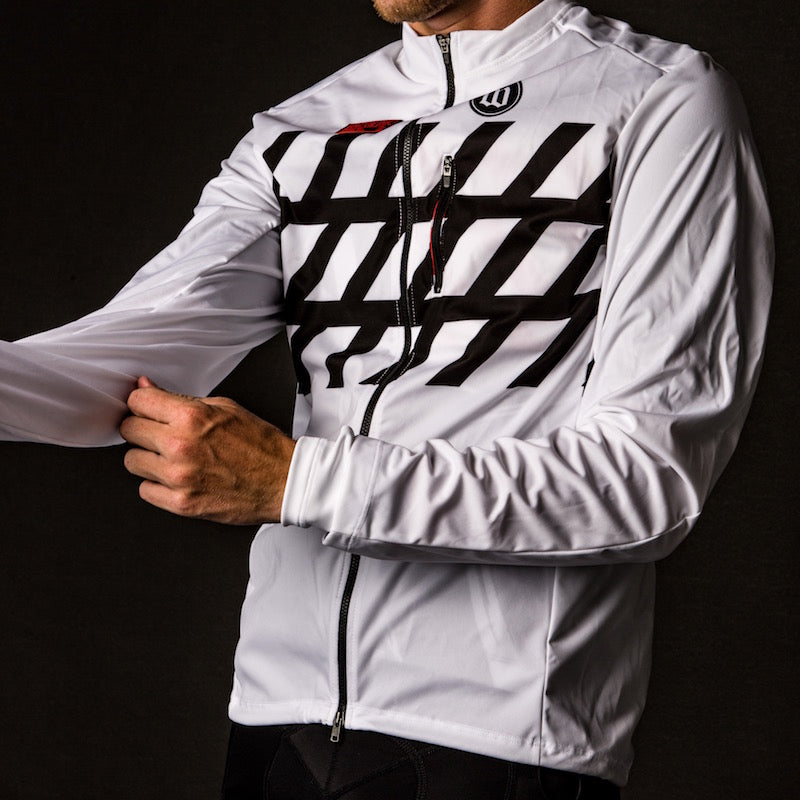 Men's Black + White Double Threat Jacket - Stripe