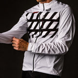 Black + White Collection Double Threat Men's Running Jacket - Stripe