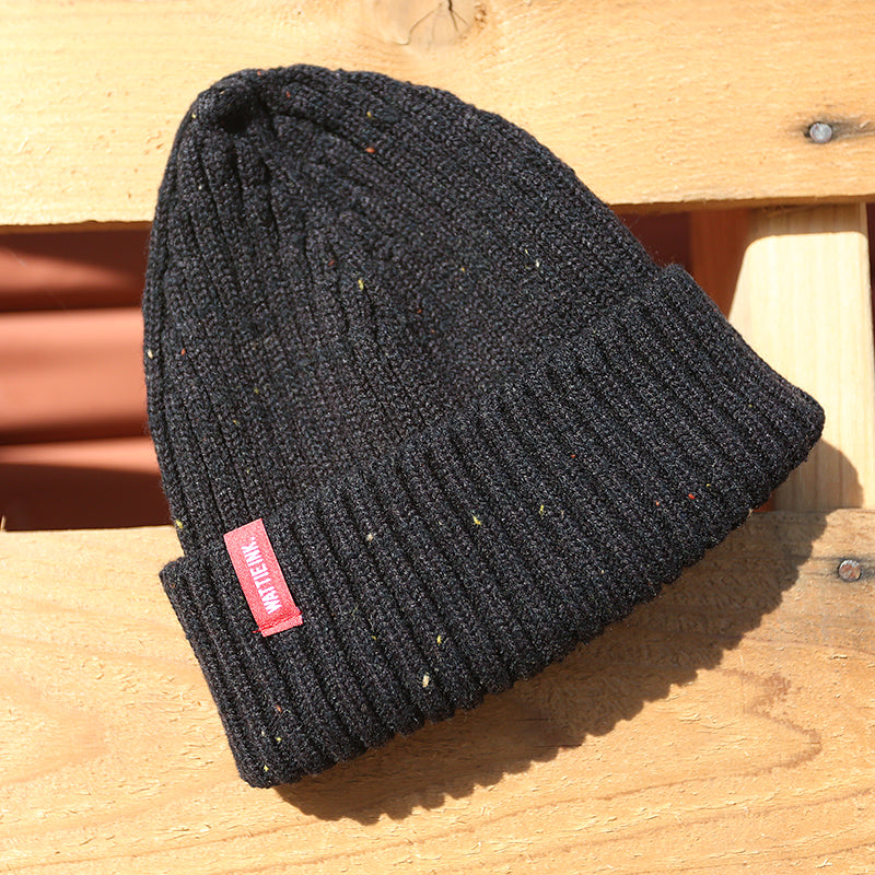 Deckhand Merino Wool Speckled Beanie Black