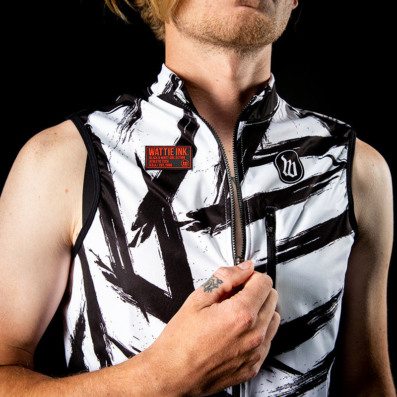 Men's Black & White Double Threat Vest - Bolt