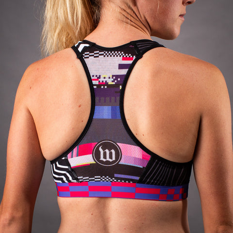 Network Collection Tech Contender Womens Race Bra - Black/White