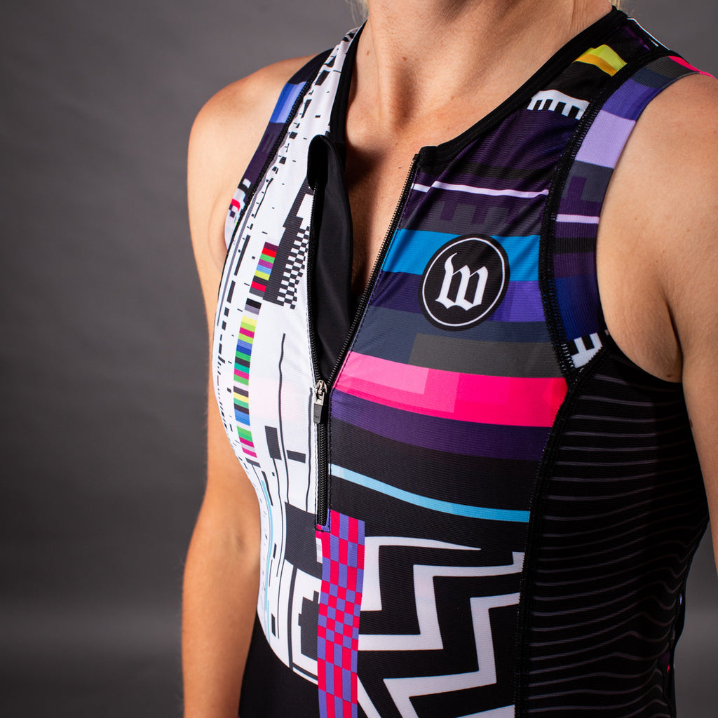Network Collection Tech Contender 2.0 Womens Tri Top - Black/White