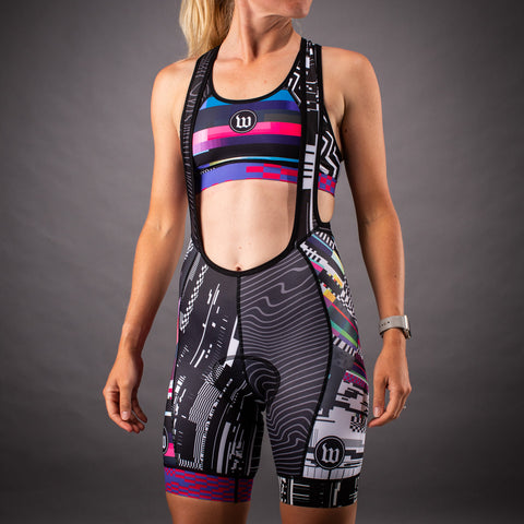 Network Collection Tech Contender Womens Cycling Bib Short - Black/White