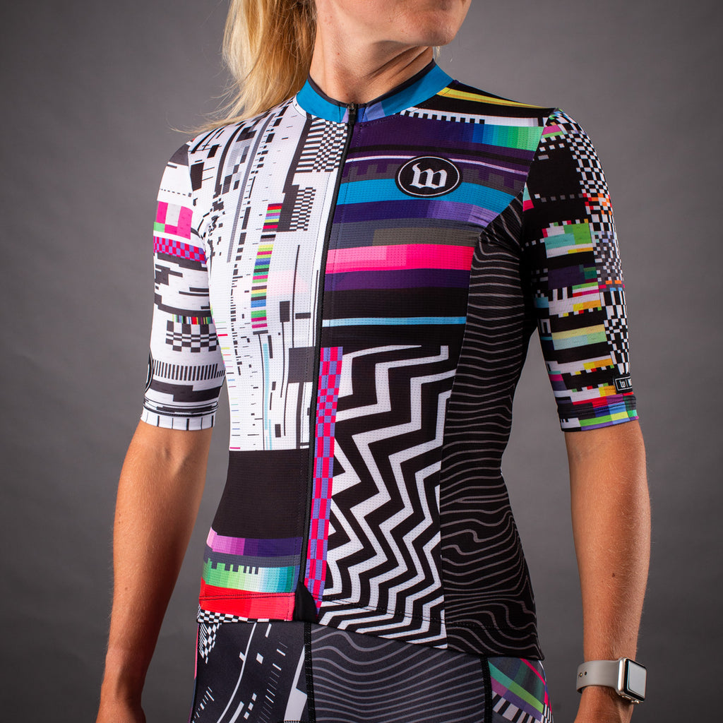 Network Collection Tech Contender 2.0 SS Womens Cycling Jersey - Black/White