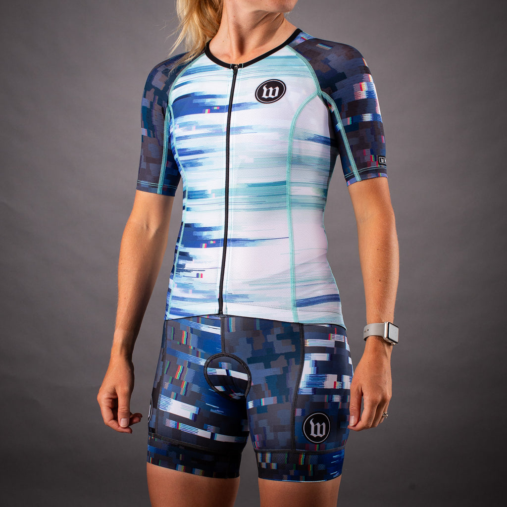 Women's Network White/Blue Wave Contender Tri Aero Jersey