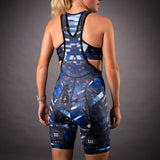 Network Collection Wave Contender Womens Cycling Bib Short - White/Blue