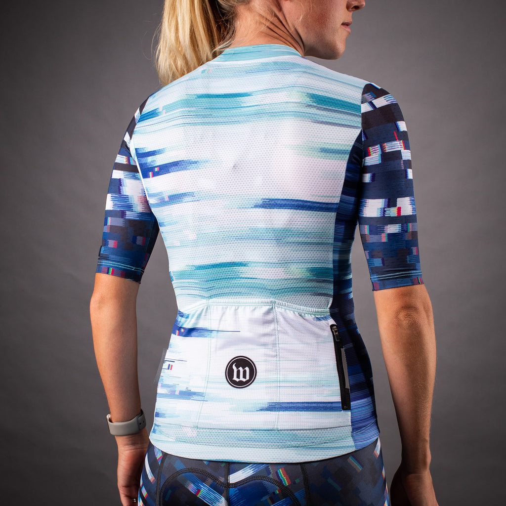 Women's Network Wave Contender 2.0 SS Cycling Jersey - White/Blue