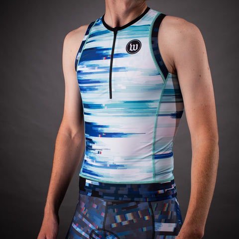 Network Collection Wave Contender 2.0 Mens Tri Top - White/Blue
