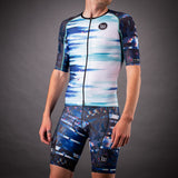 Network Collection Wave Contender Mens Aero Triathlon Jersey - White/Blue