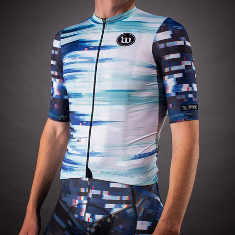 Men's Network Collection Contender 2.0 SS Cycling Jersey - Wave White/Blue