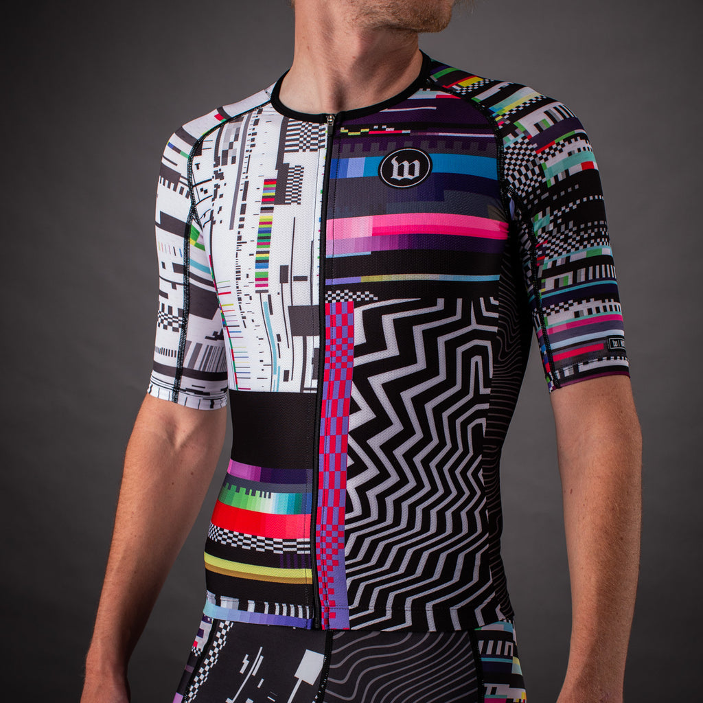 Network Collection Tech Contender Mens Aero Triathlon Jersey - Black/White