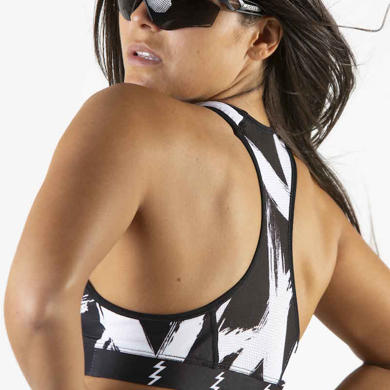 Women's Black + White Contender Race Bra - Bolt White