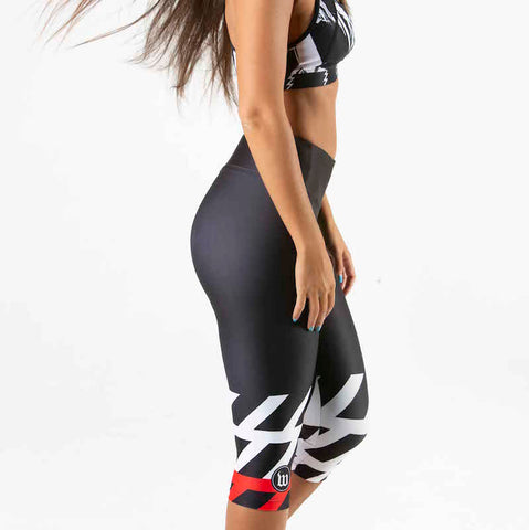 Women's Black + White Contender Running Tight - Stripe
