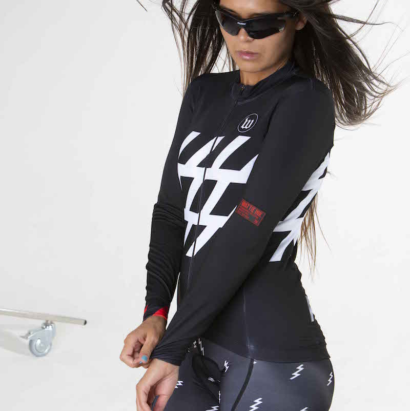 Black + White Collection Contender 2.0 Women's Long Sleeve Cycling Jersey - Stripe