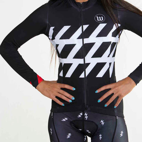 Women's Black + White Contender 2.0 Long Sleeve Cycling Jersey - Stripe