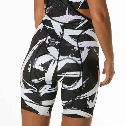 Women's Black + White Contender Bib Short - Bolt White