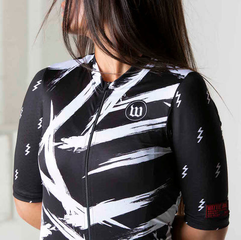 Women's Black + White Contender 2.0 Cycling Jersey - Bolt