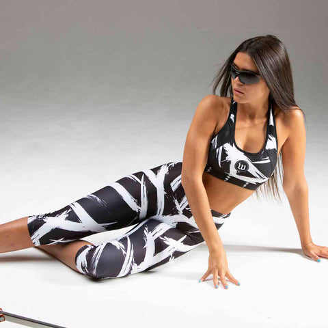 Women's Black + White Contender Running Tight - Bolt White-hover