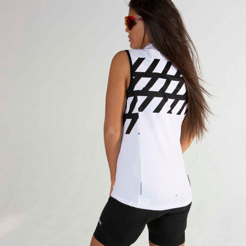 Women's Black + White Double Threat Vest - Stripe
