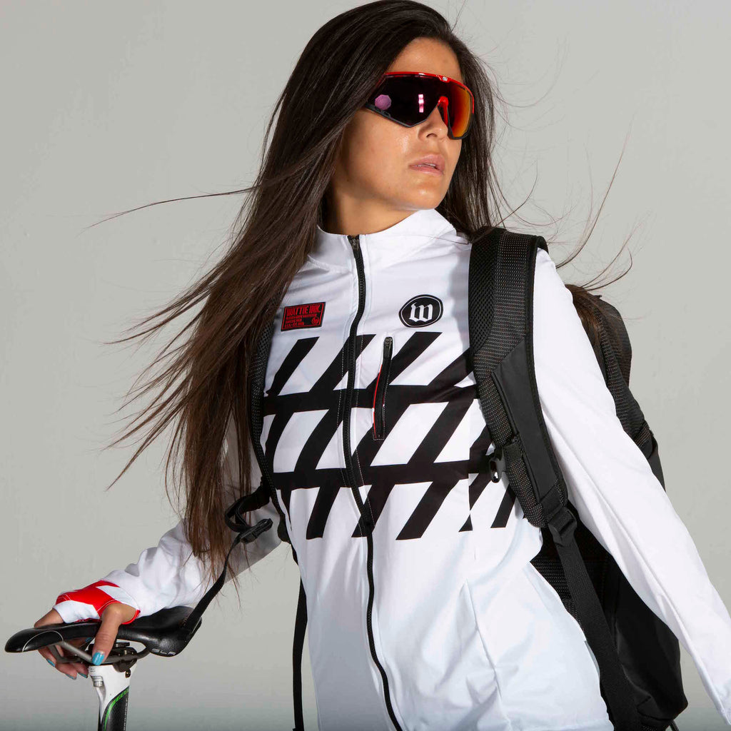 Women's Black + White Double Threat Jacket - Stripe
