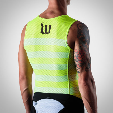 Men's Summer Base Layer - Neon Yellow Stripes